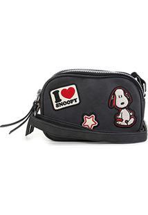 Bolsa Snoopy Transversal Mini Bag Feminina - Feminino-Preto