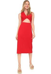Vestido Cantão Midi Canelado Vermelho