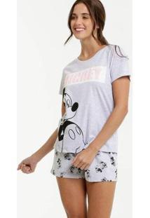 Pijama Estampa Minnie E Mickey Manga Curta Disney Feminino - Feminino-Cinza