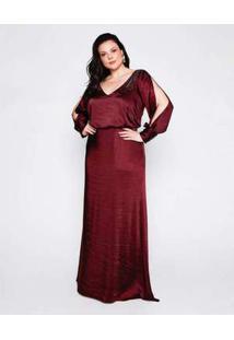 Vestido Almaria Plus Size Pianeta Festa Cetim Vinho Vermelho