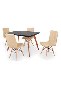 Conjunto Mesa De Jantar Gih 120X80Cm Preta Com 4 Cadeiras Gomos - Nude