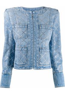 Balmain Jaqueta Jeans Com Aplicação De Pedra Preciosa - Azul