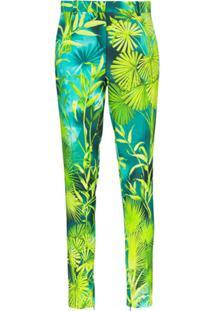 Versace Calça Slim Com Estampa De Palmeira - Verde