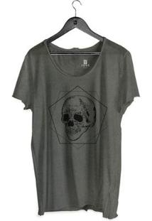 Camiseta Estonada Corte À Fio Joss Poligono Skull Masculina - Masculino-Chumbo