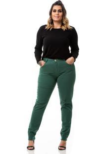 Calã§A Feminina Jeans Cigarrete Color Destroyed Plus Size - Verde - Feminino - Dafiti