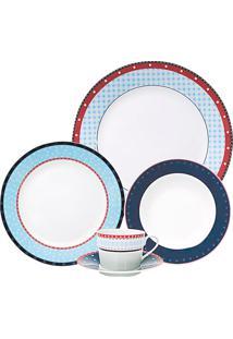Aparelho De Jantar Casamiga Jackie Check Porcelana 20 Peças - 30101