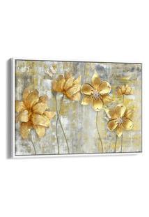 Quadro 60X90Cm Flores Douradas Abstrato Canvas Moldura Flutuante Branca
