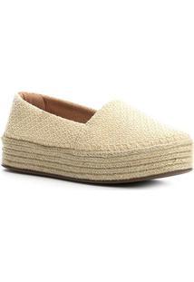 Sapatilha Shoestock Espadrille Flatform Feminina - Feminino-Bege