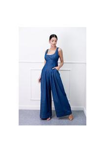 Macacão Longo Sisal Jeans Sem Mangas E Decote Traseiro Azul