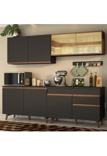 Cozinha Completa Madesa Reims 240001 Com Armário E Balcão - Preto/Rustic Preto