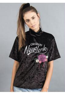 Blusa De Veludo New York Com Bordado Preto