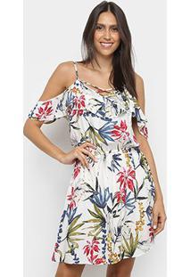Vestido Pérola Evasê Curto Tropical Open Shoulder Babado - Feminino-Branco