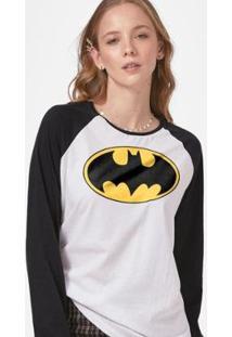 Camiseta Manga Longa Feminina Batman Logo Clássico - Feminino