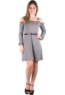 Vestido Alça Com Detalhe Pompom - Banna Hanna - Feminino-Cinza