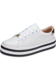 Tênis Plataforma Lu Fashion Sola Alta Listrada Branco