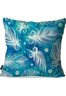 Kit Com 4 Capas Para Almofadas Decorativas Azul Penas 45X45Cm
