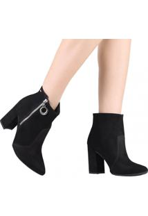 Bota Ankle Boot Dakota Cano Curto Zíper Preto