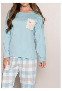 Pijama Longo Xadrez Bolso Felpado Pzama (40006) 100% Algodão