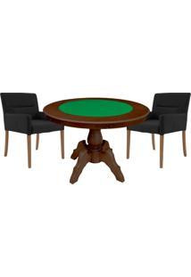 Mesa De Jogos Carteado Redonda Montreal Tampo Reversível Imbuia Com 2 Cadeiras Vicenza Preto Fosco - Gran Belo