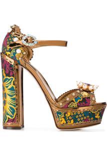 Dolce & Gabbana Sandália Keira Com Plataforma - Dourado