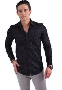 Camisa Horus Social Slim Preta Estampada 100237