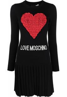 Love Moschino Vestido De Tricô Com Logo E Coração De Tule - Preto