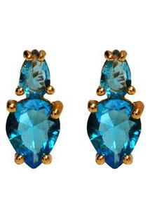Brinco Dourado Ania Store Lady Azul
