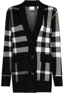 Burberry Cardigan Com Estampa Xadrez De Tricô - Preto