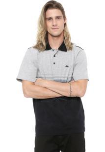 Camisa Polo Quiksilver Reta Moline Stripe Preta/Cinza