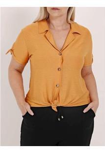 Camisa Autentique Nó Manga Curta Plus Size Feminina - Feminino-Amarelo