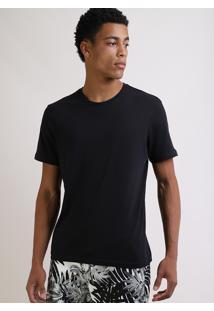 Camiseta Masculina Básica Manga Curta Gola Careca Preta