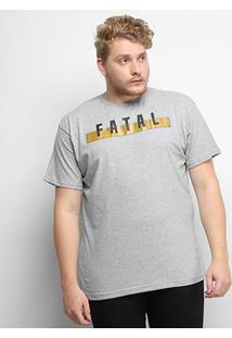 Camiseta Fatal Logo Plus Size Masculina - Masculino-Cinza