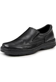 Sapato Couro Pizaflex Confort Elástico Pretoo