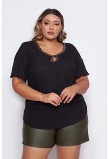 Blusa Almaria Plus Size Pianeta Básico Feminina - Feminino-Preto