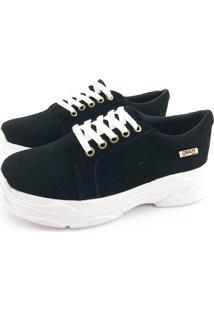 Tênis Chunky Quality Shoes Feminino Nobuck Preto 35