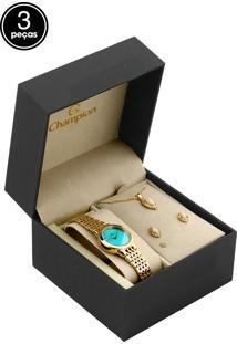 62e12944b2a ... Kit 3Pçs Relógio Champion Ch24812B Dourado Azul