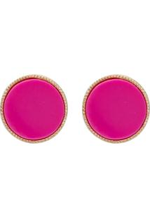 Brinco Le Briju Acrílico E Metal Redondo Dourado Bisian Rosa