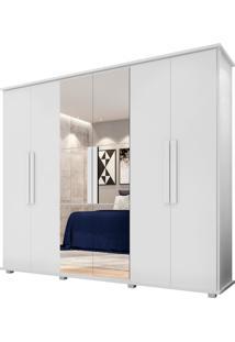 Roupeiro Estrela 6 Portas Com Espelho Rv Branco - Branco - Dafiti