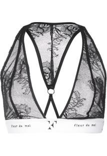 Fleur Du Mal Sutiã Com Logo - Preto