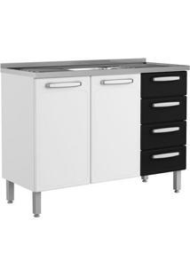Balcão De Cozinha Com Pia Cecil 2 Pt 4 Gv Branco E Preto