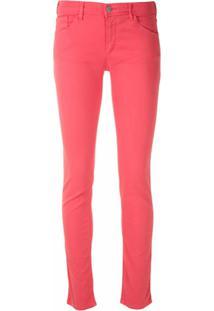 Emporio Armani Calça Skinny Com Logo Metálico - Rosa