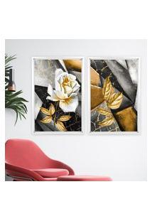Quadro Com Moldura Chanfrada Abstrato Rosa Dourada Branco - Grande