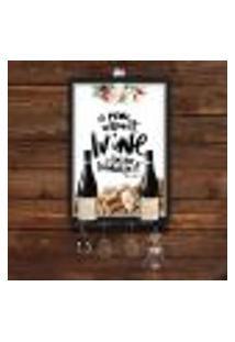 Quadro Caixa Vinho Porta Rolha Com Suporte Para Taças, Garrafas E Pendurador (Acessórios Não Acopanha)