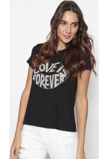 """Blusa """"Love Is Forever""""- Preta & Cinza- Cavallaricavalari"""