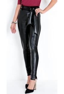 Calça Skinny Preta Com Detalhes Em Sintético