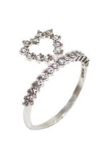 Anel Coração Delicado Cravejado Prata 925