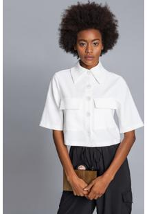 Camisa Cropped Oversized Branco Off White - Lez A Lez