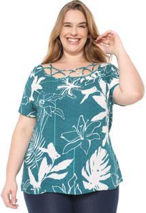 Blusa Cativa Plus Recortes Verde