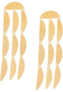 Annie Costello Brown Mini Rain Earrings - Dourado