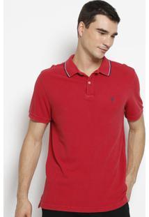 Polo Em Piqu㪠Com Bordado - Vermelha & Azul Marinhoosklen
